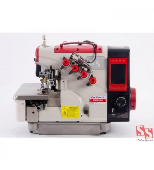 Máquina de Costura Overloque Ponto Cadeia Eletrônica com embutidor de Correntinha Automático com Control Box acoplado ao cabeçote SS94PD-BK-AT-SP-BR